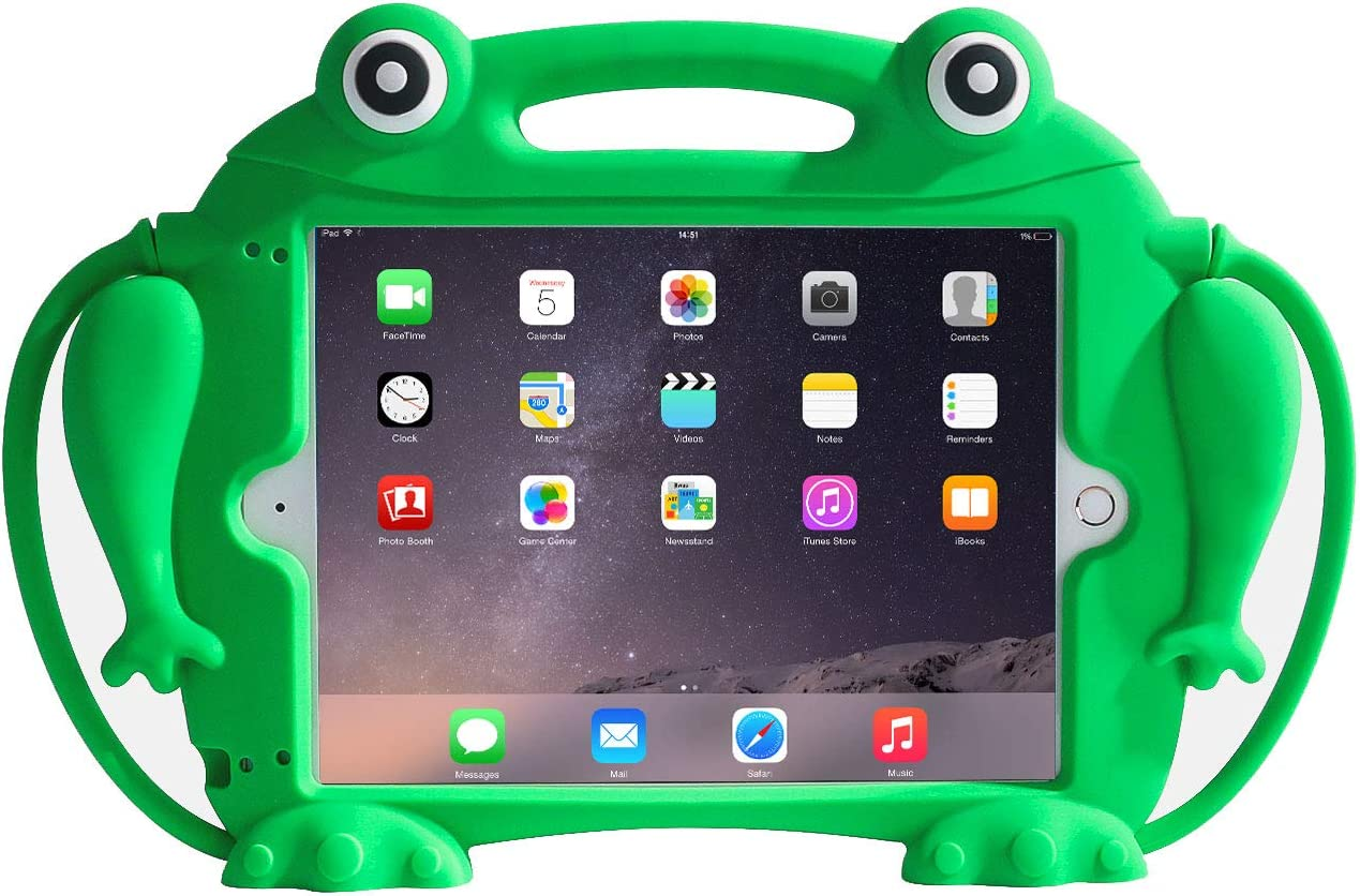 CHIN FAI Kids Case for iPad 9.7 2018 2017 / iPad Air 1 2 / iPad Pro - [Eye Popping Toys] Shockproof Silicone Handle Stand Frog Protective Cover for Apple iPad 5th 6th Generation (Green)