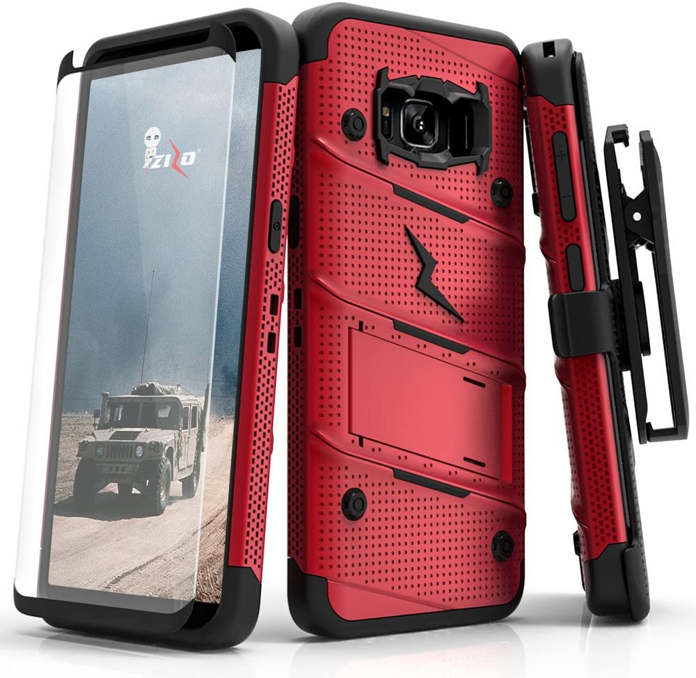 Samsung Galaxy S8 Case, Zizo [Bolt Series] w/ [Galaxy S8 Screen Protector] Kickstand [12 ft. Military Grade Drop Tested] Holster Belt Clip - Galaxy S8 Red/Black