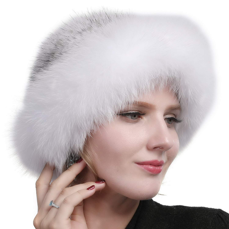 Valpeak Womens Winter Hat Knitted Mink Real Fur Hats with Fox Brim (White)