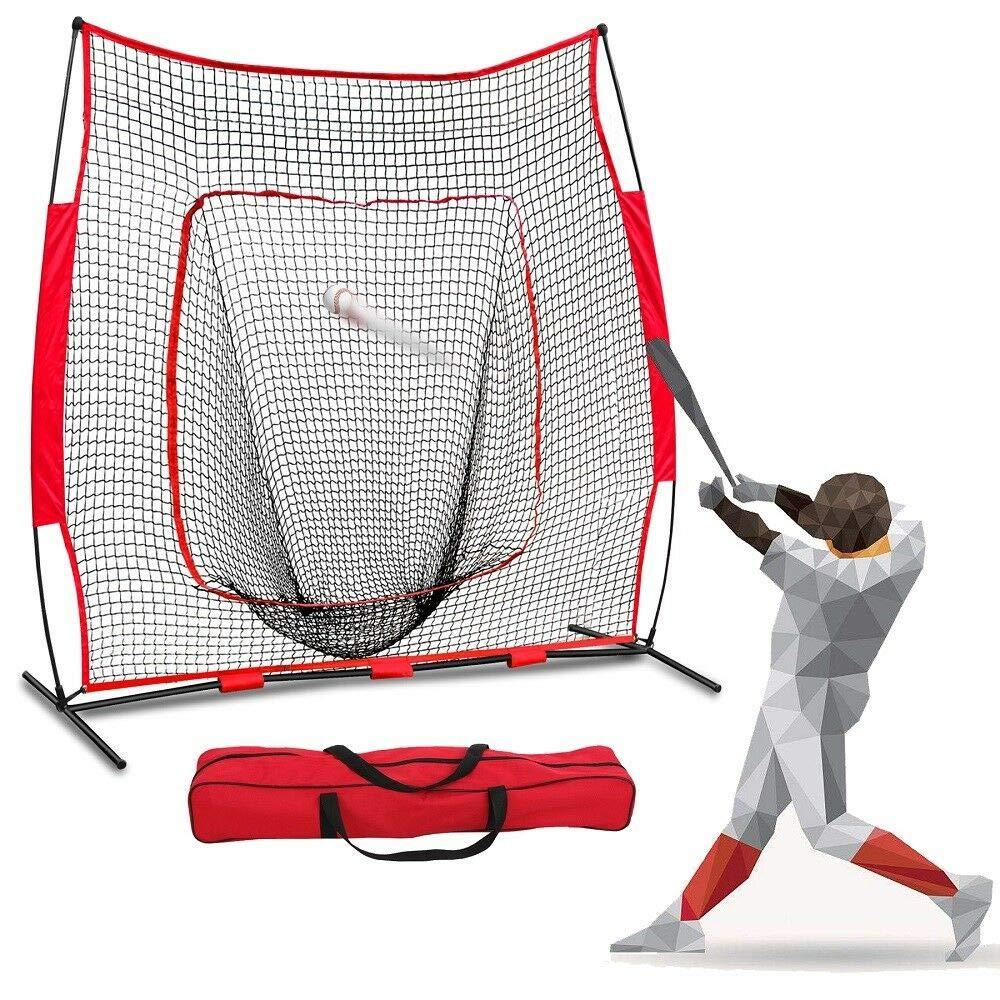 zazza95shop Portable Baseball Softball Practice Hitting Batting Training Net 7x7 Feet Bow Frame with Bag Powder Coated Steel Frame Sturdy Lightweight Tear Resistant Polyester by zazza95shop