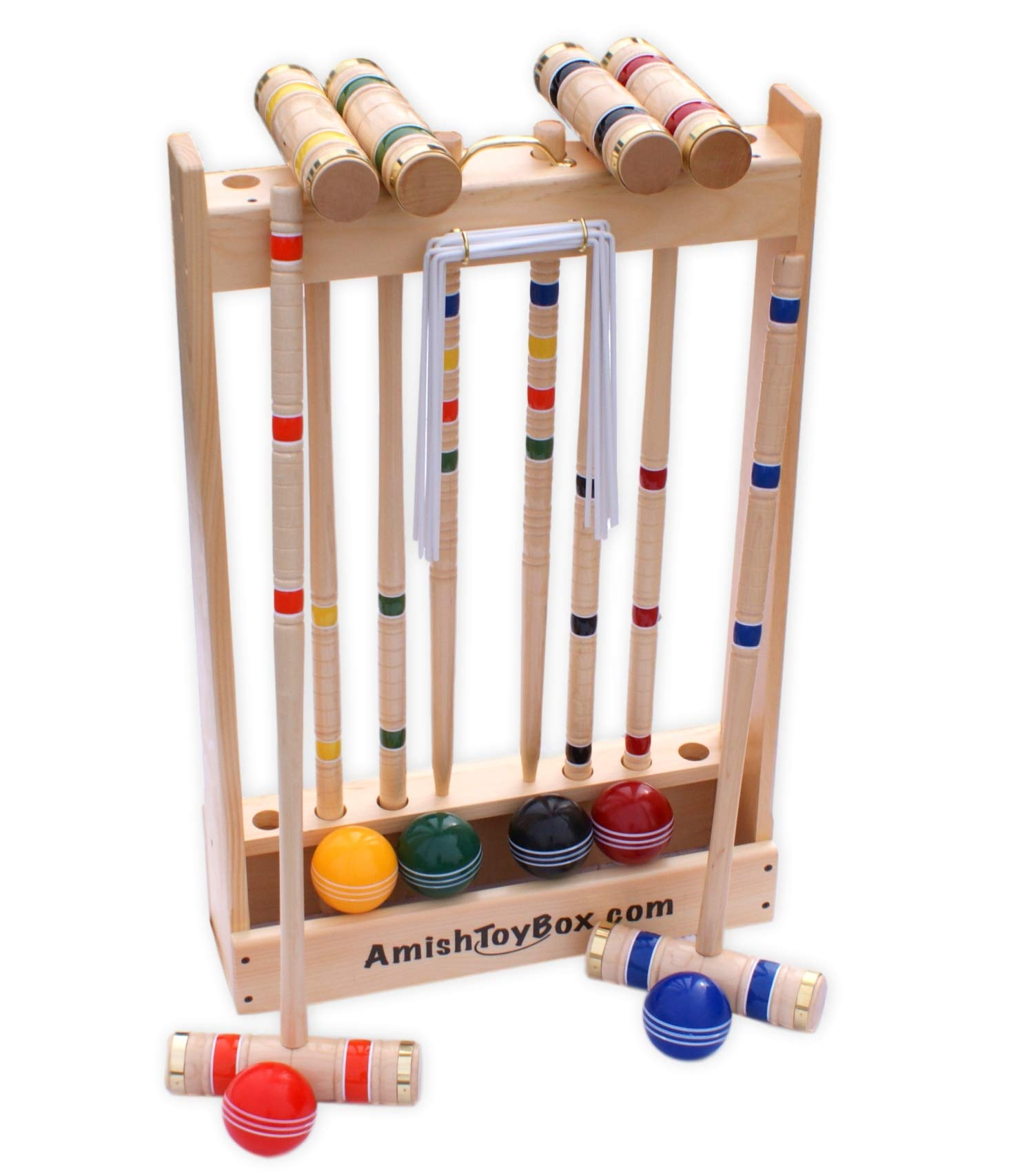 Amish-Crafted Deluxe Maple-Wood Croquet Game Set, 6 Player (Three 28'' Handles/Three 32'' Handles)