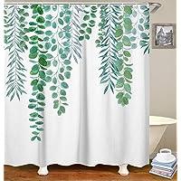 "LIVILAN Green Leaf Shower Curtain Set with 12 Hooks, Decorative Bath Curtain Waterproof Fabric Bathroom Curtain, 72"" X 78"""
