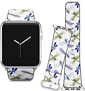 Compatible with Apple Watch (42/44 mm) Series 5, 4, 3, 2, 1 // Leather Replacement Bracelet Strap Wristband + Adapters // Exotic Dragonfly Wild Insect