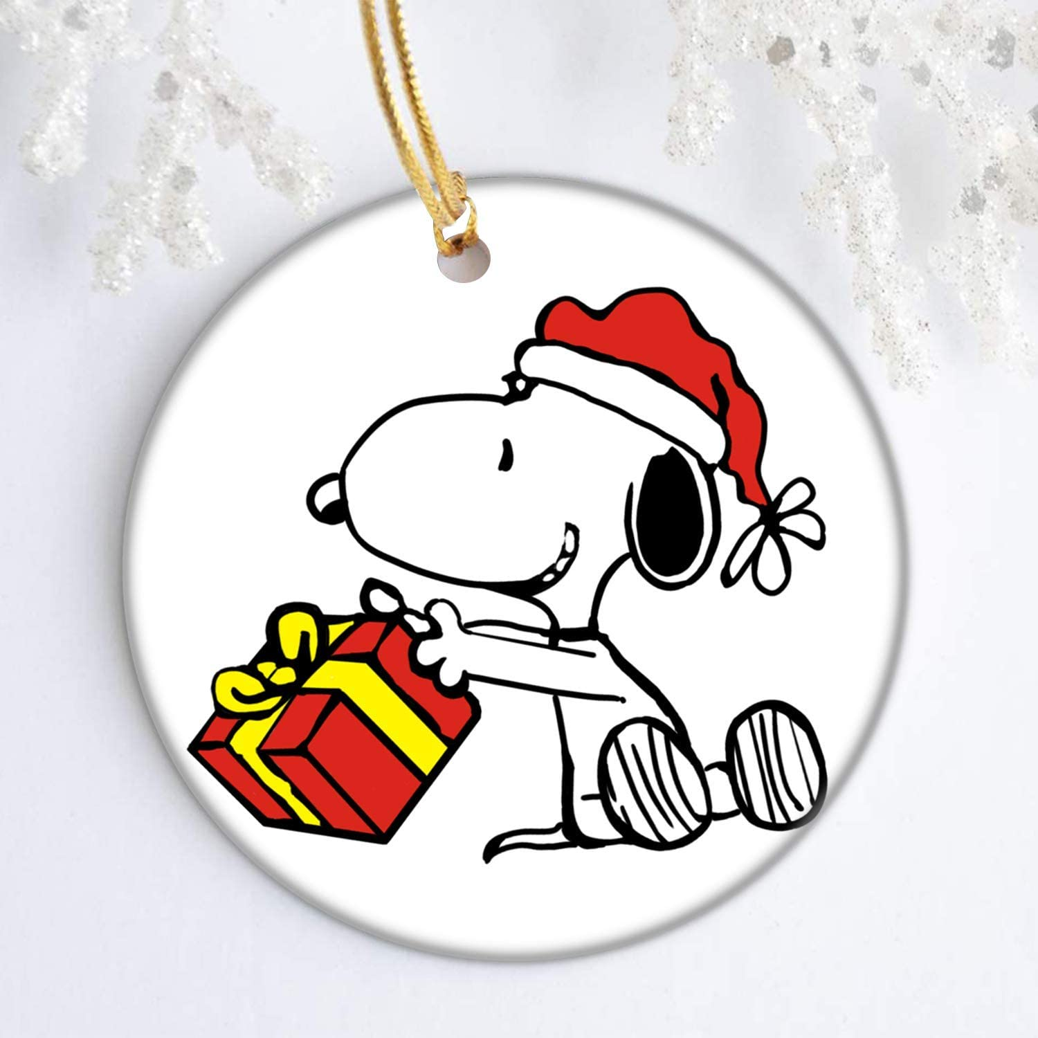 brainief Christmas Ornaments Snoopy with Red Hat Present Charlie Brown Peanuts Christmas Tree Decoration Round Ceramic Ornament with Gift Box Xmas Present 3 inch