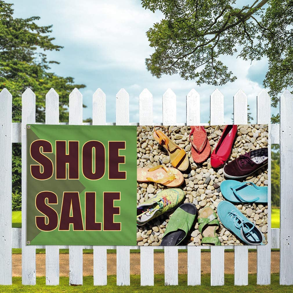 Vinyl Banner Sign Shoe Sale #1 Style C Business Shoe Sale Marketing Advertising Green 8 Grommets 48inx96in One Banner Multiple Sizes Available