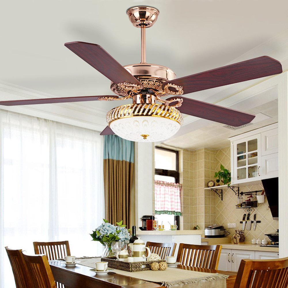 RainierLight Modern Ceiling Fan Lamp LED 3 Changing Light 5 Reversible Blades Crystal Glass Frosted Lampshade with Remote Control for Indoor 52-Inch Mute Energy Saving Fan