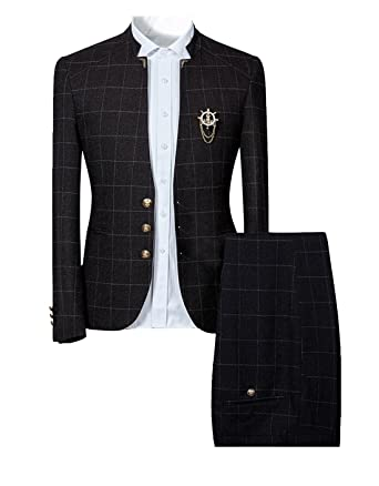 20180450ba20 Cloudstyle Mens Unique Slim Fit Checked Suits 2 Piece Vintage Jacket and  Trousers,Black,