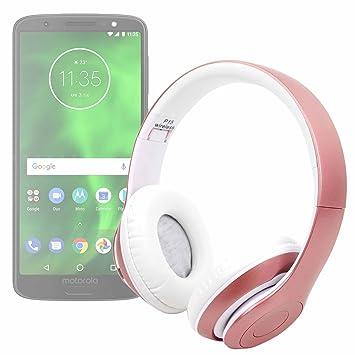 DURAGADGET Auriculares Plegables inalámbricos en Color Rosa para Smartphone Motorola Moto G6/Motorola Moto G6