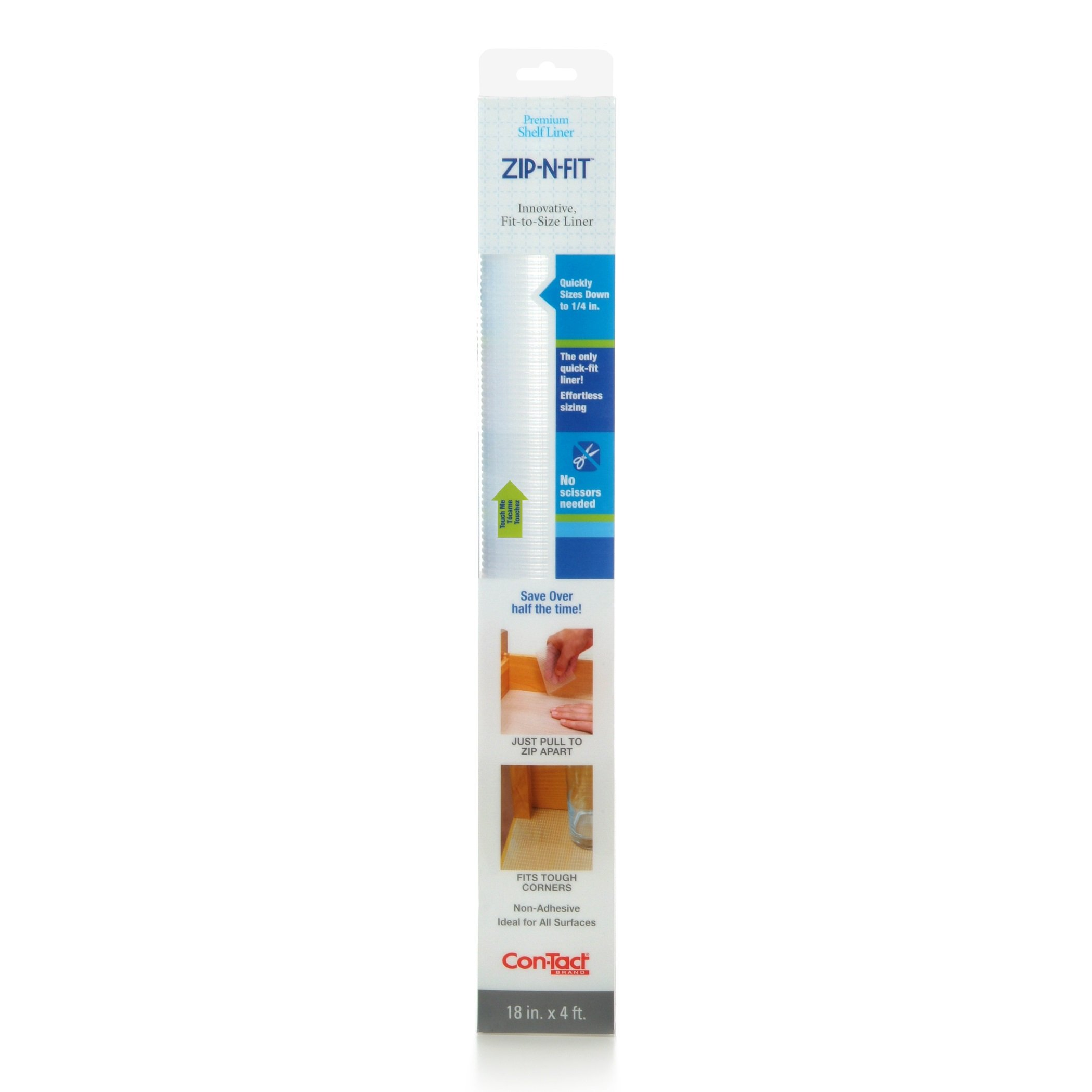 Con-Tact Brand Zip-N-Fit Premium Non-Adhesive Perforated Shelf and Drawer Liner, No Scissors Needed, 18-Inches by 4-Feet, Ribbed Clear, 6 Rolls by Con-Tact Brand