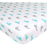 American Baby Company 100% Natural Cotton Value Jersey Knit Fitted Bassinet Sheet, Aqua Whales, Soft Breathable, Boys and Girls