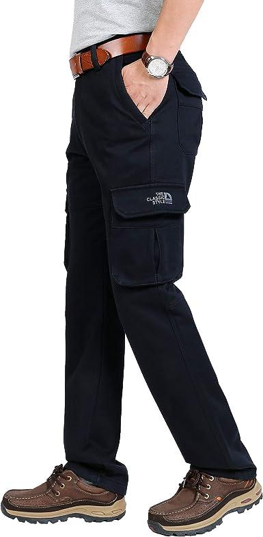 Tofern Herren Hose Cargohose Fleece gef/üttert mit Seitentaschen warm wasserdicht f/ür Winter wandern Outdoor