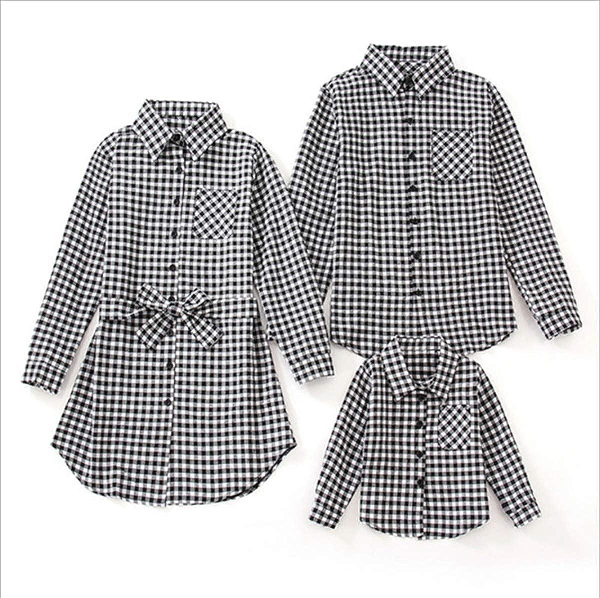 Family Matching Plaid Shirt Black, Dad//M