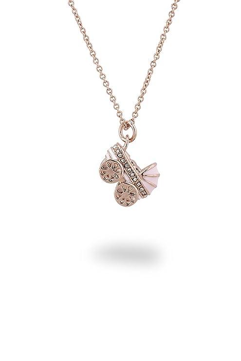 Charm cochecito de bebé con collar rosa 18K Rose Gold