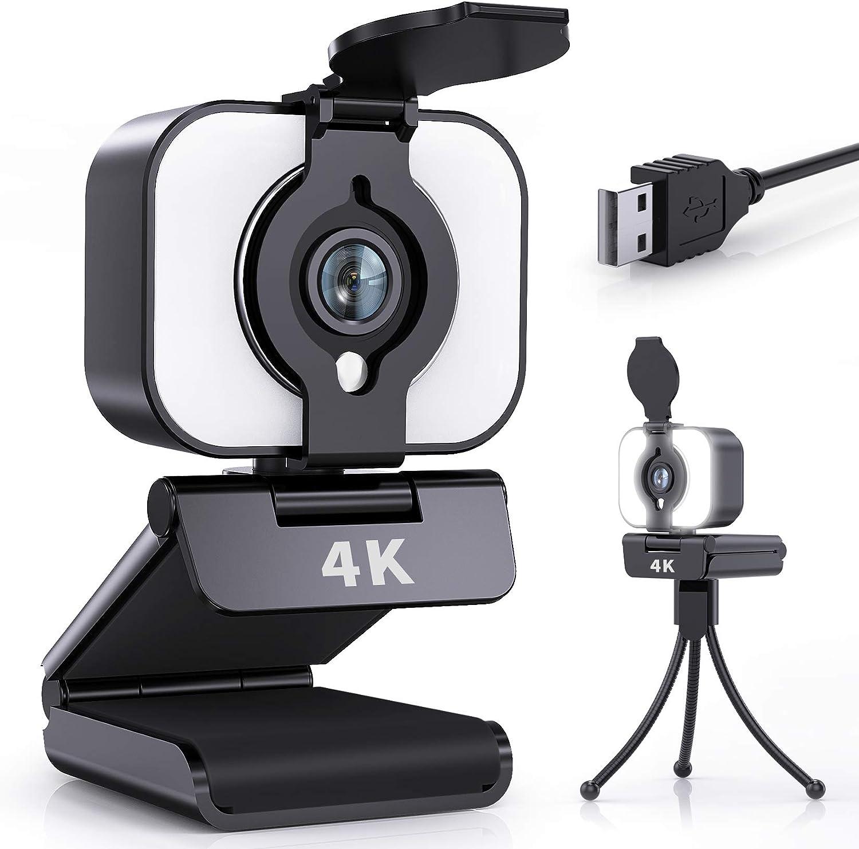 Webcam con micrófono, 4 K UHD incorporado, luz anular para PC, cámara web con micrófono estéreo, trípode, radio de giro de 360°, cámara USB para videollamadas, estudio, juegos, cursos en línea