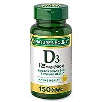 Vitamin D by Nature's Bounty for immune support. Vitamin D provides immune support and promotes healthy bones. 5000IU, 150 Softgels