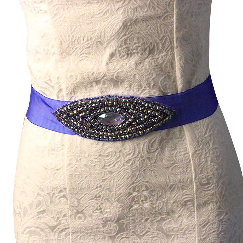 E-Clover Designer Rhinestone Bridal Wedding Sash Belt for Bridesmaid Dress