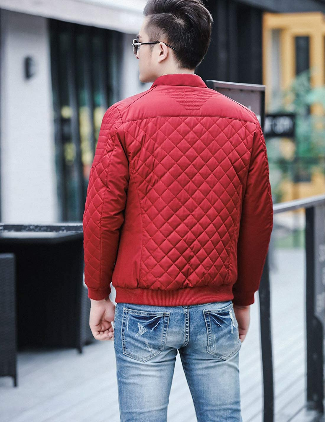 Tanming Mens Casual Stand Collar Diamond Quilted Cotton Padding Puffy Coat Jackets