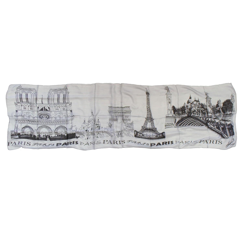 "Souvenirs of France - Paris Women's Fine Silk Shawl - 71"" x 19.7"" - Grey"