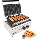 ALDKitchen Corn Dog Waffle Maker for Commercial Use   6 Hotdog Waffles on a Stick   Stainless Steel   110V (6 Waffle Dogs)