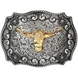 Long horn bull, Cowboy Western belt buckle