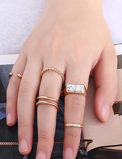 5 Pcs Suit ring female joint ring With the blue or white stone (White)