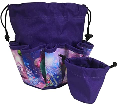 Bingo Bag 10 Pocket Lucky Bingo Purple Drawstring Bag