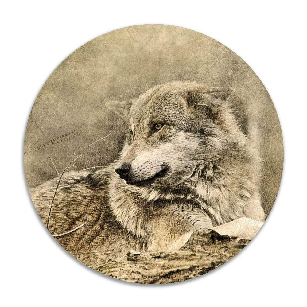 Hawaiian Waves Non-Slip Soft Rug Mats Wolf Animal Predator Seat Cushion (16 Inch) Circular Chair Cushions Pad Stool Cover
