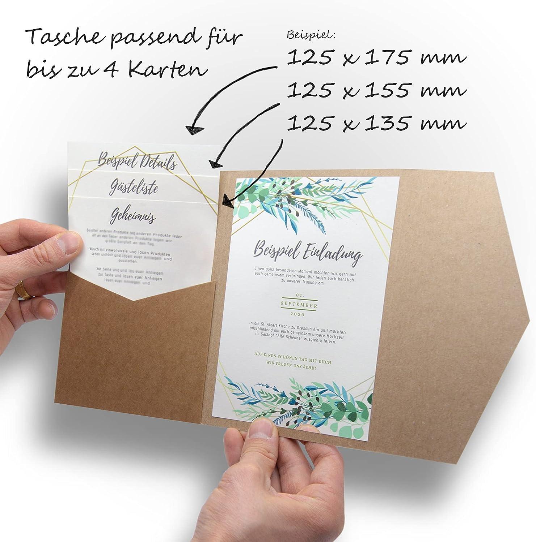 185 x 130 mm Pocketfold Invites LTD Einladungskarten mit Perlglanz Smaragdgr/ün