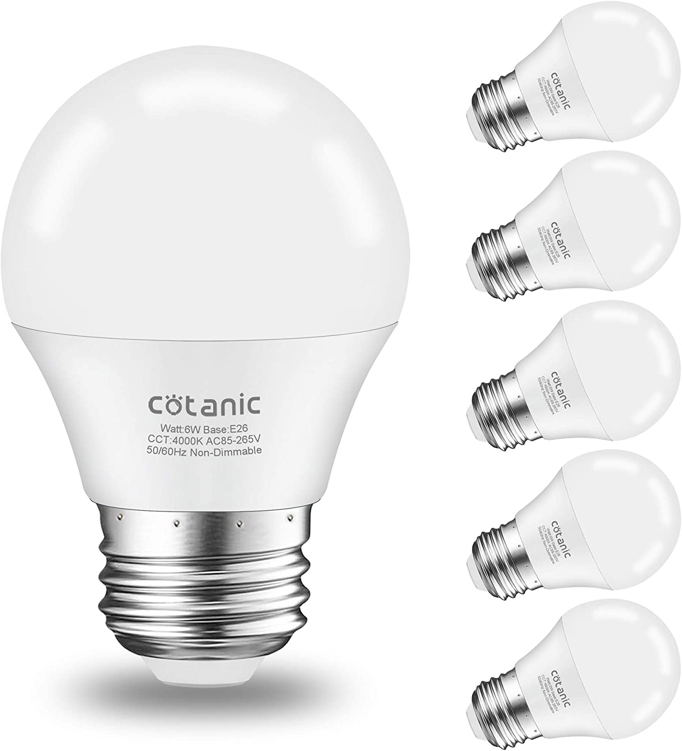 A15 LED Bulb,Cotanic Ceiling Fan Light Bulbs 6W (60W Equivalent),4000K Natural Daylight,E26 Standrad Base Light Bulb,600lm,CRI 80+ LED Globe Shape Bulb,Non-Dimmable,6 Packs