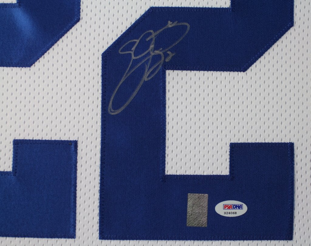 79f9b048807 ... Emmitt Smith Autographed White Cowboys Jersey - Beautifully Matted and  Framed - Hand Signed By Emmitt ...
