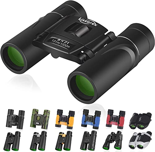 Kissarex Adults Compact Travel Binoculars 8×21 10×25 10×42 12×50 Mini Small Size Lightweight Best Outdoor Theatre Tactical Hiking Kids Concert Sports Camping Low-Light Night Vision Waterproof