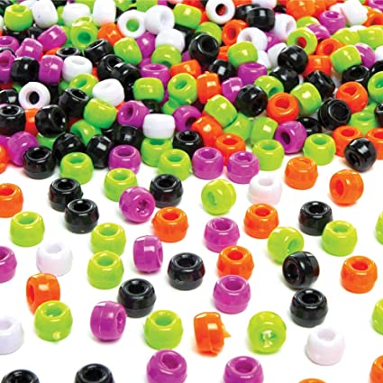 6 x 9mm Halloween Multicolor Mix Plastic Craft Pony Beads 500 Beads