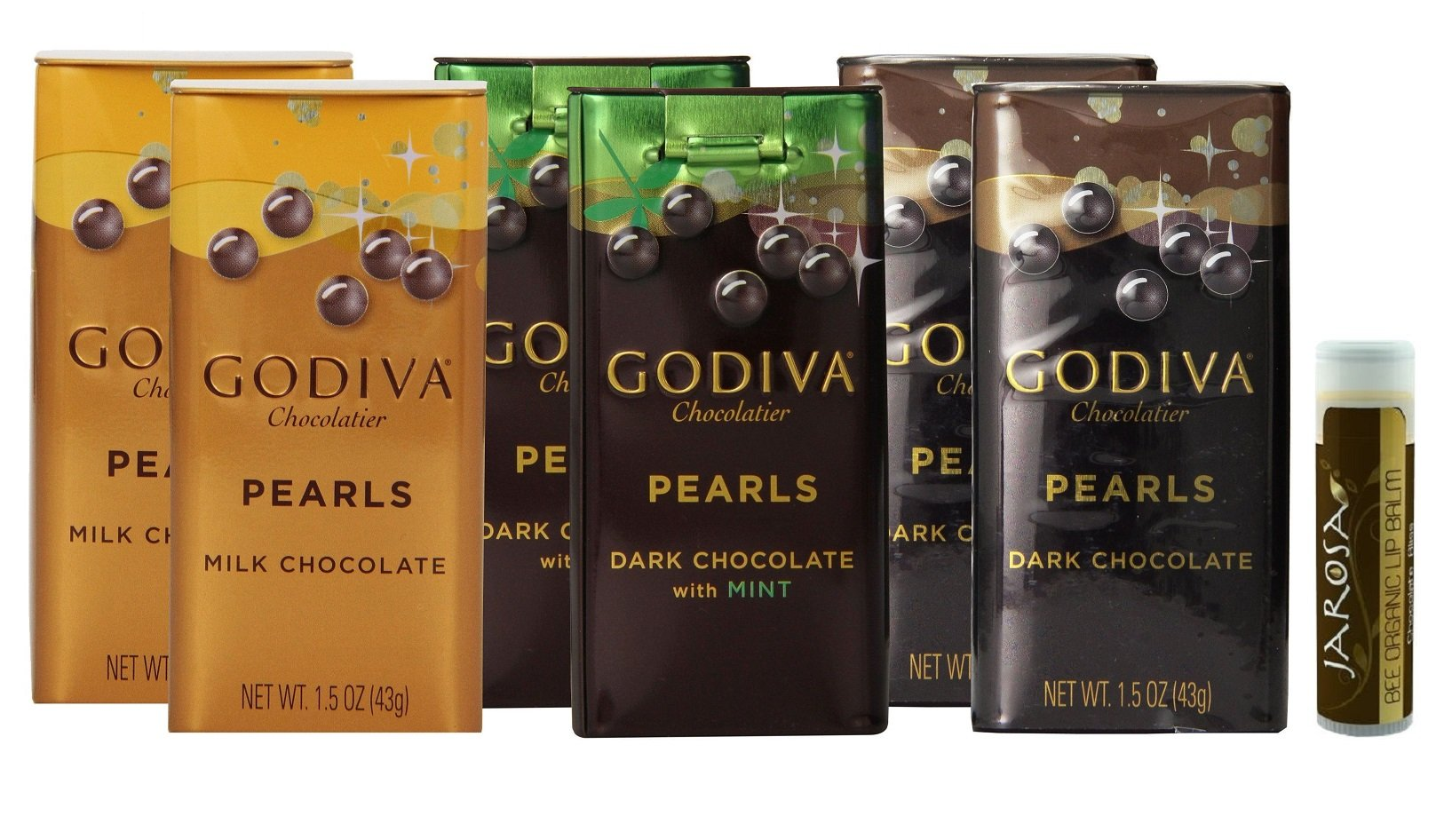 Godiva Pearls Gift Box Set Variety Pack with Dark Chocolate Mint Pearls, Dark Chocolate Pearls & Milk Chocolate Pearls (2 of Each) with a Jarosa Chocolate Bliss Lip Balm