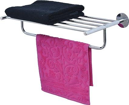 Porta Asciugamani Bagno Da Muro : Mensola a muro da bagno con porta asciugamani in metallo cromato
