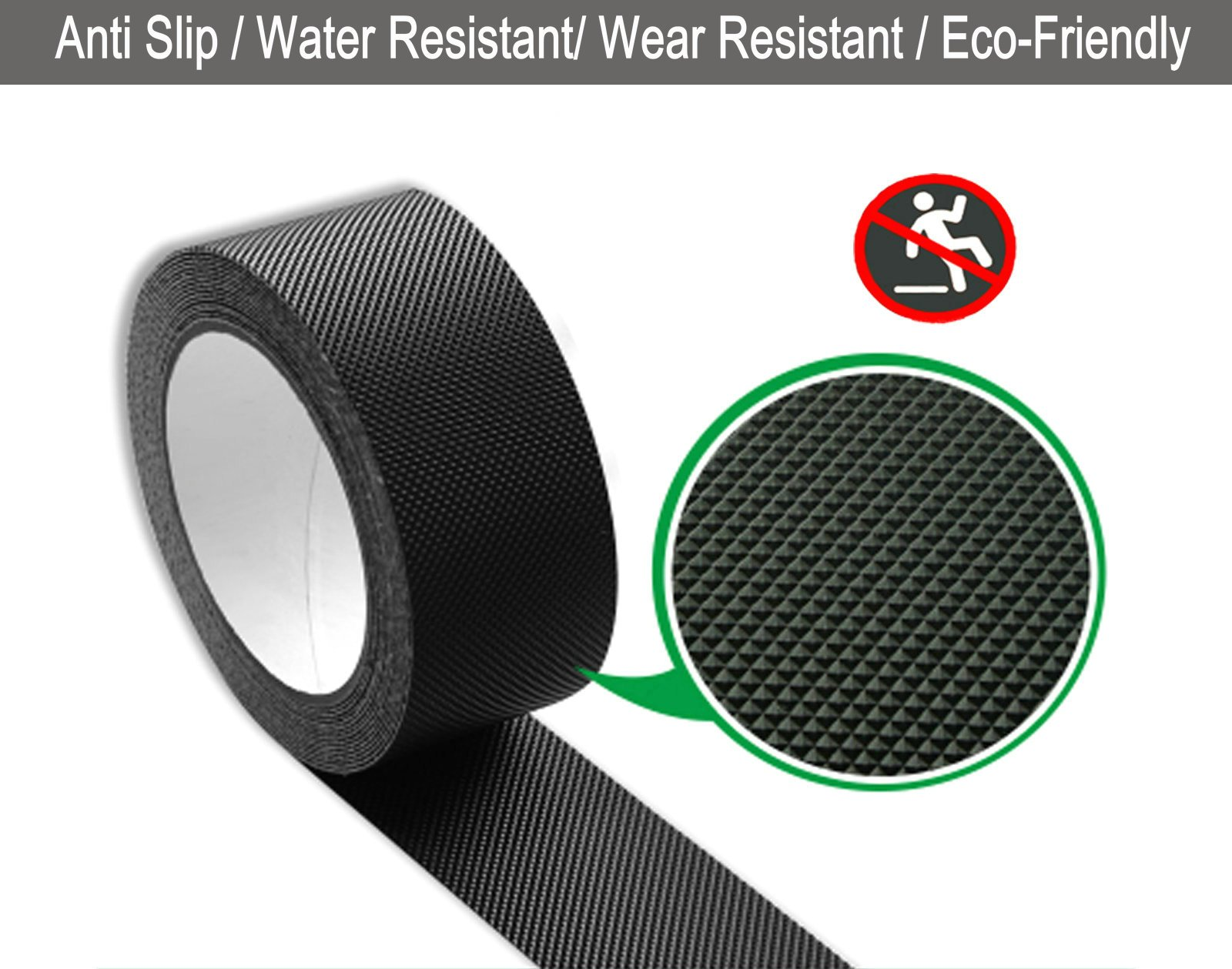 Black Anti Slip Safety Tape, Water Resistant High Traction Grip for Stairs, Steps, Boats, Garage, Ladders, Wear Resistant Strong Adhesive Rubberized Steady Treads Indoor Or Outdoor (1'' x16.4')