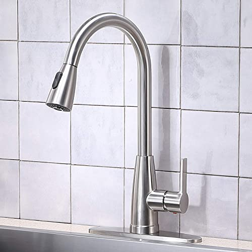 Kitchen Faucet Stainless Steel Single Handle Kitchen Faucet with Pull Down Sprayer, Brushed Nickel Pull Out Kitchen Faucets