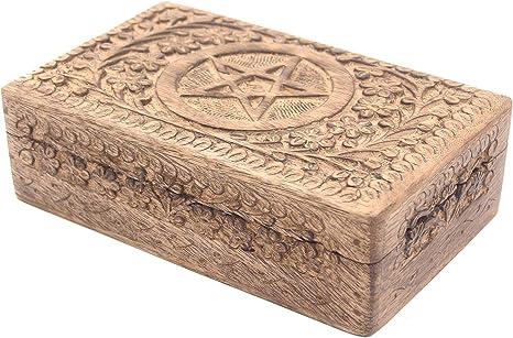"Wooden Box Jewelry-Tarot Cards-WICCA - 4/"" x 6/"" NEW {:- Pentacle Pentagram"