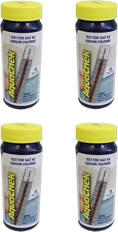 Aquachek White Swimming Pool And Spa 10 Count Sodium Chloride Test Kit 4 Pack Home Kitchen