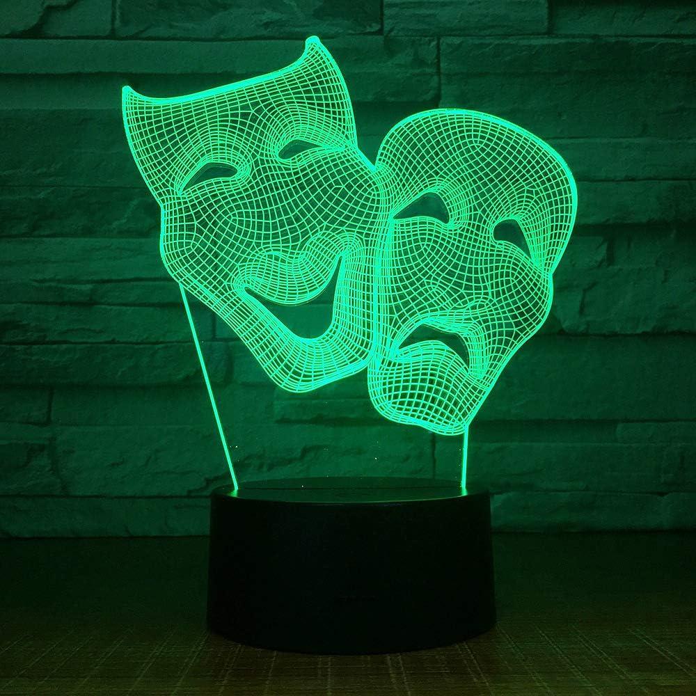 KangYD Comedy Mask 3D LED Night Light, Colorido, Regalo creativo, Regalo de amigo, Control remoto 7 Color (Blanco crack White,Lámpara de ambiente: Amazon.es: Iluminación