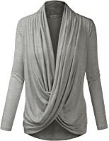 BIADANI Women Criss Cross Wrap Long Sleeve Classic Nursing Dolman Cardigan(S-3X)