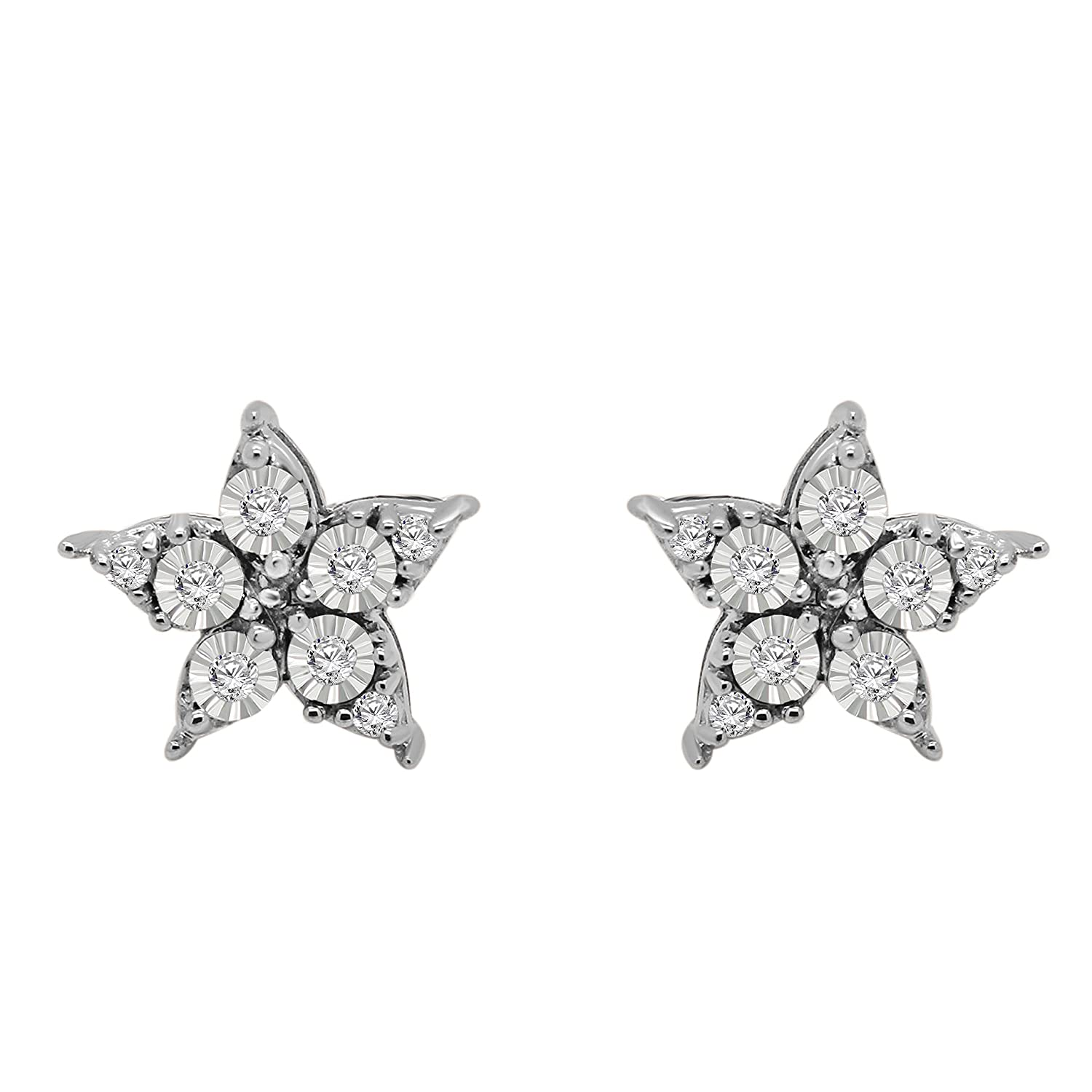 0.11 Ct Round Cut Natural Diamond Flower Stud Earrings With Push Back In 14K Solid Gold