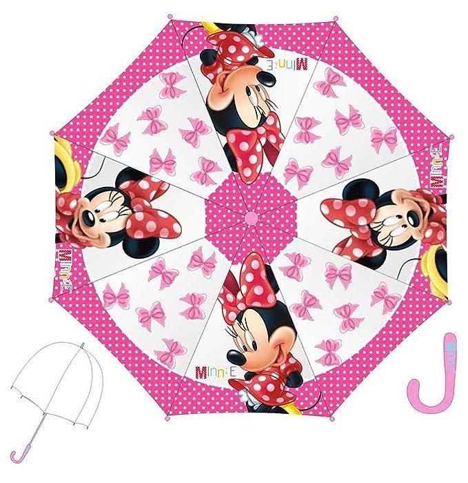 Paraguas transparente niño Niña Estampado lazos Minnie rosa oscuro