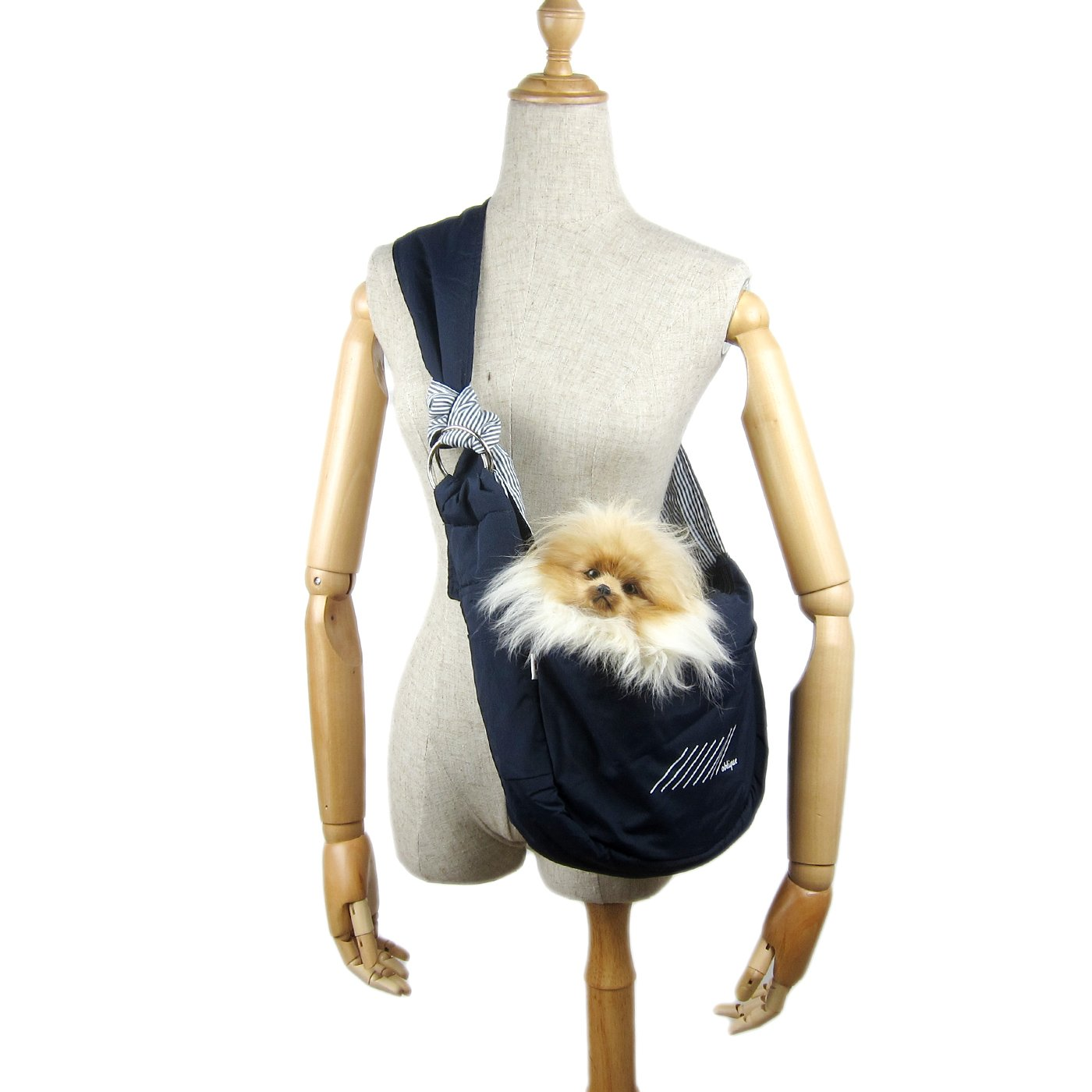 Alfie Pet by Petoga Couture - Carmel Pet Sling Carrier with Adjustable Strap - Color: Blue, Size: Small