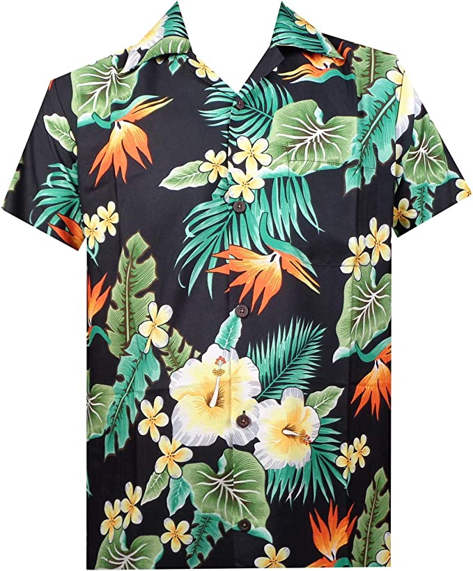 L FLORAL HAWAIIAN SHIRT Red Summer Holiday Beach Pool Loose Fit Tropical Flower