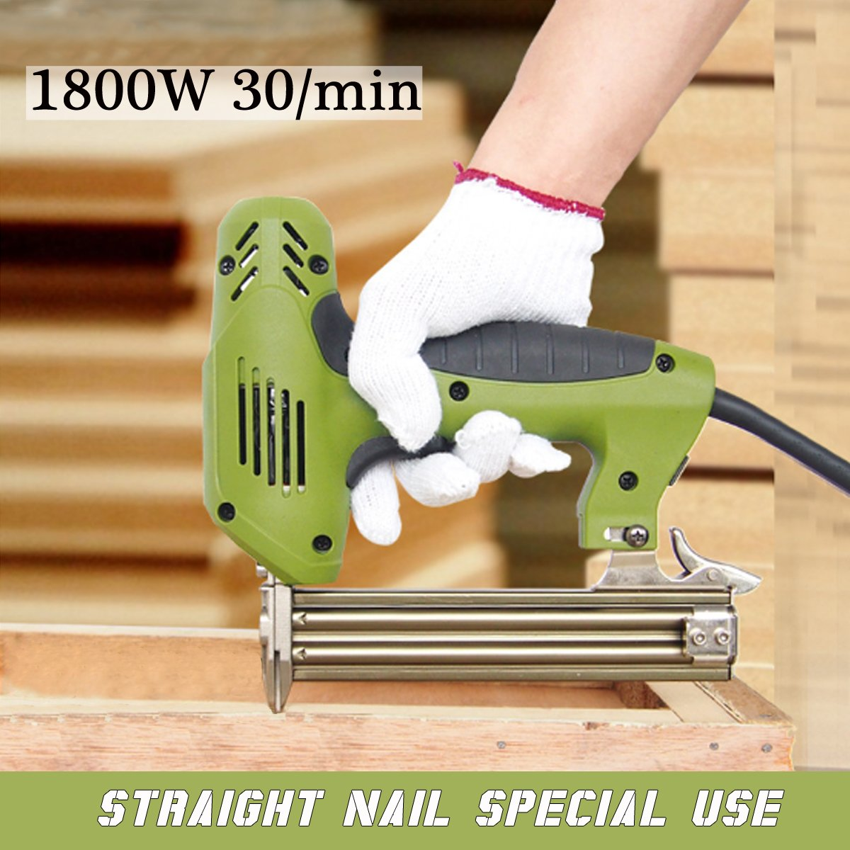 220V 1800W Electric Staple Straight Nail Gun 10-30mm Special Use 30/min Woodworking Tool by SPK603