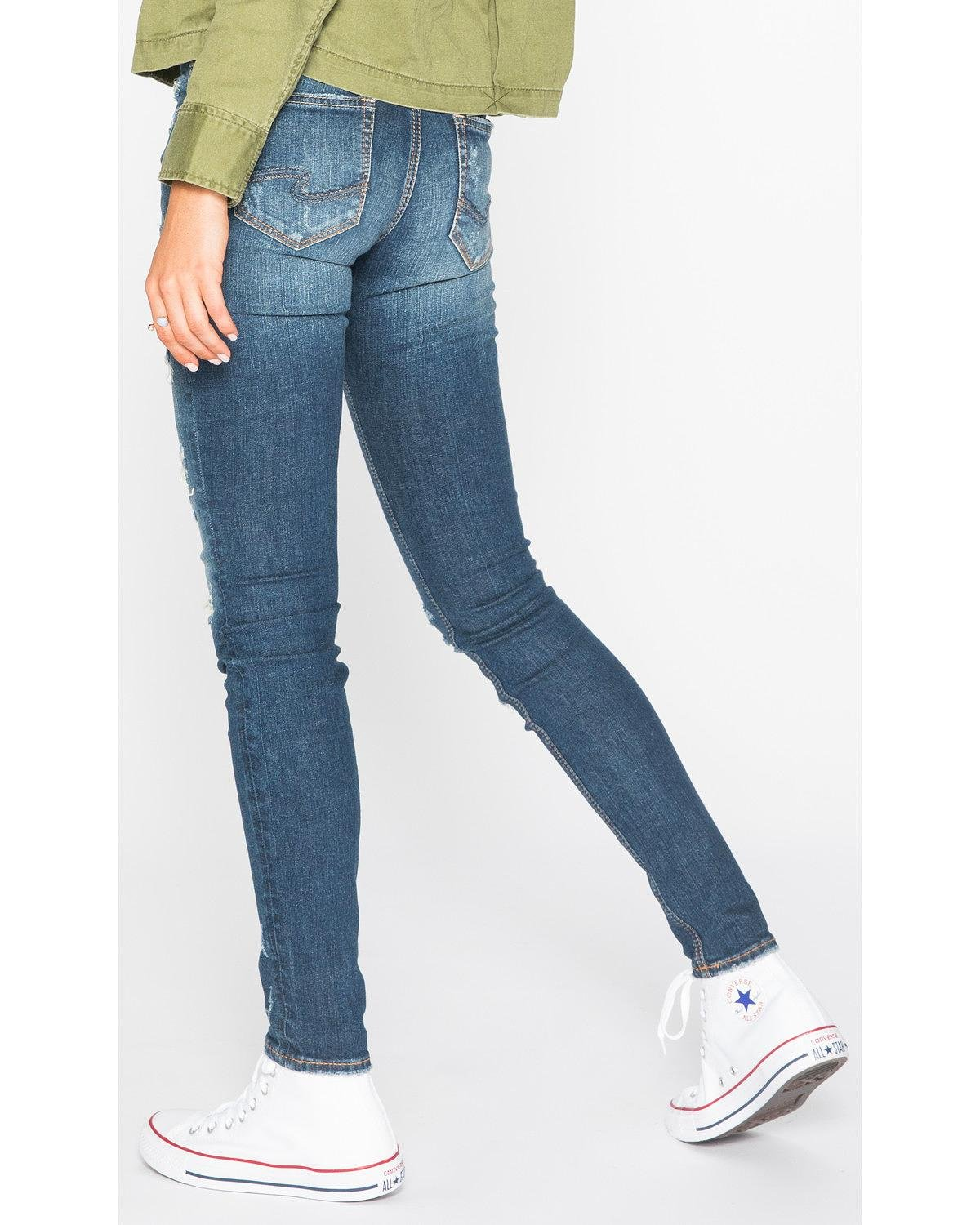 Silver Jeans Co. Women's Suki Curvy Fit Mid Rise Skinny Jeans, Vintage Medium Destroyed, 29 X 31