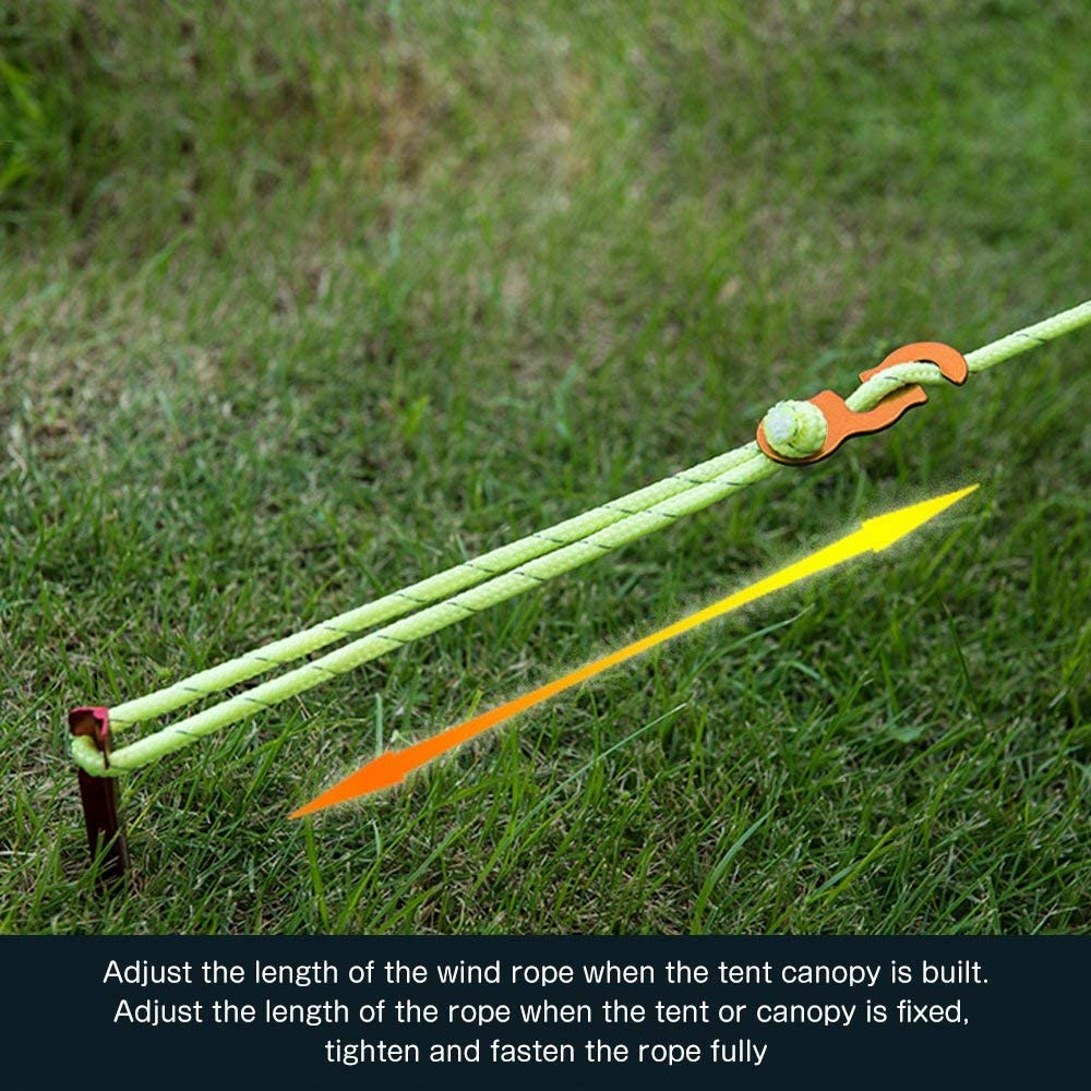 Yillsen Ultralight Aluminum Alloy Guyline Cord Adjuster Tent Tensioners Rope Adjuster for Tent Camping Hiking Backpacking Outdoor Activity Pack of 10