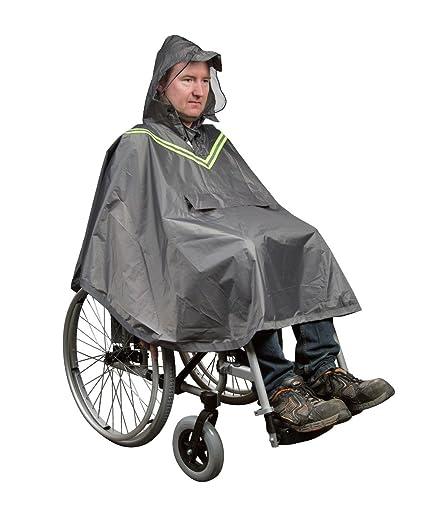 fabacare Chubasquero poncho para silla de ruedas, Lluvia Poncho con ventana y reflectores, silla