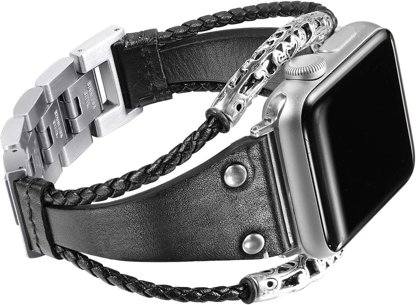Secbolt Leather Bands Compatible Apple Watch Band Series 4/5/6 44mm, Series 3/2/1 42mm, Double Twist Handmade Vintage Natural Leather Bracelet Replacement Bracelet Straps Women