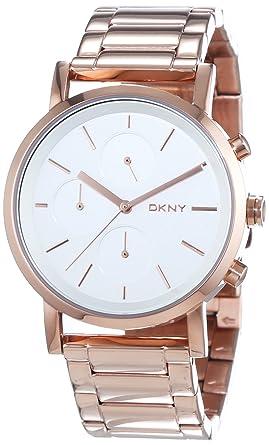Dkny damen armbanduhr chronograph quarz edelstahl beschichtet ny8862